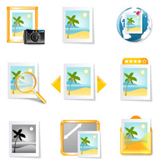 Vector travel photography icons