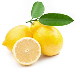 High-quality photo ripe lemons on a white background.