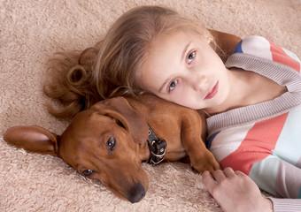 teenager girl and dog dachshund