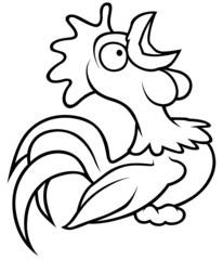 Crowing Rooster - Black and White Cartoon illustration