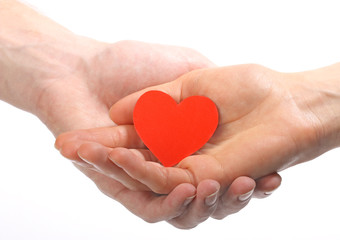Valentine's heart in human hands