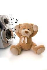 teddy bear listening to music