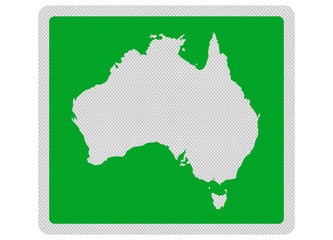 Photo realistic sign depicting outline map of Australia. Isolate