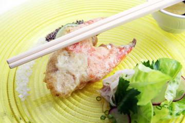 Big fried crab claw food