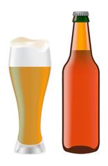 Beer in glass and dark bottle of beer