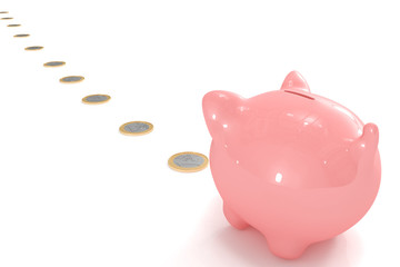 Piggy bank following a coin path
