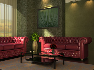 Classic interior with red leather sofas.