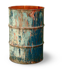 Isolated barrel. Old rusty metal barrel covered with multicolored spots