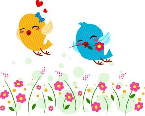 Lovebirds Playing in a Garden