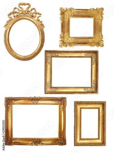 5 cadres anciens en bois dor sur fond blanc photo libre de droits sur la banque d 39 images. Black Bedroom Furniture Sets. Home Design Ideas