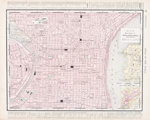 Vintage Color City Street Map Philadelphia, Pennsylvania, USA
