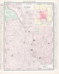 Detailed Antique Color Street City Map Baltimore, Maryland, USA