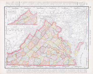 Antique Vintage Color Map of Virginia, VA, United States, USA