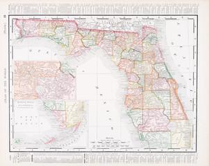 Antique Vintage Color Map of Florida, FL, United States, USA