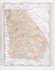 Antique Vintage Color Map of Georgia, GA, United States, USA