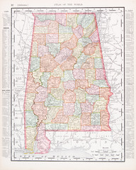 Antique Vintage Color Map of Alabama, AL, United States, USA