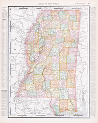 Antique Vintage Color Map of Mississippi, MS, United States, USA