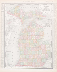 Antique Vintage Color Map of Michigan, MI, United States, USA