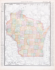 Antique Vintage Color Map of Wisconsin, WI, United States, USA