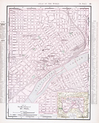 Detailed Antique Color Street  City Map St. Paul, Minnesota, USA