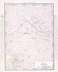 Detailed Antique Color Street  City Map  Minneapolis, Minnesota