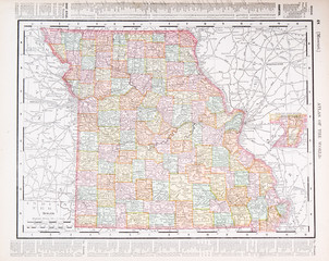 Antique Vintage Color Map of Missouri, MO, United States, USA