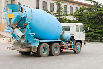 Blue Chinese Cement Truck, Street, Beijing, China