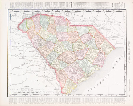Antique Vintage Color Map South Carolina, SC, United States USA