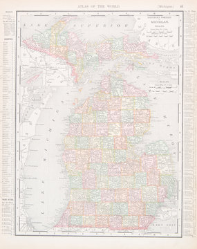 Antique Vintage Color Map of Michigan, MI, United States, USA