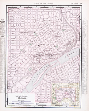 Detailed Antique Color Street  City Map St. Paul, Minnesota, USA