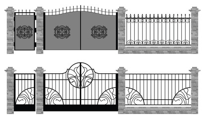 old street fences and gates vector