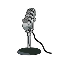 Dibujo de microfono estilo vintage aislado sobre fondo blanco