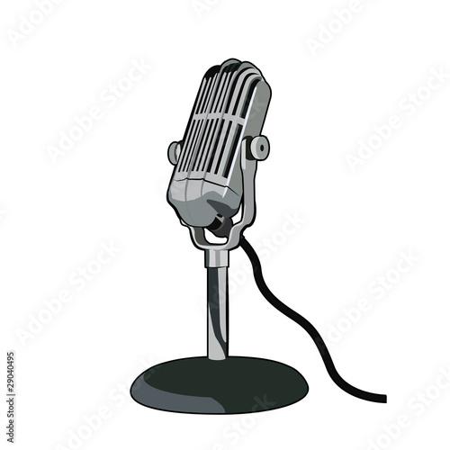 Dibujo De Microfono Estilo Vintage Aislado Sobre Fondo