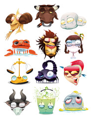 Funny Zodiac. Cartoon and vector illustration