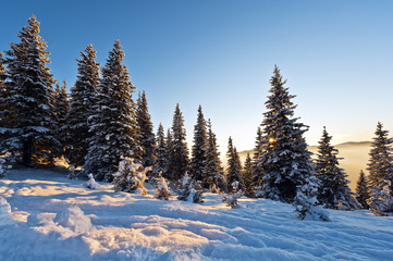 beautiful scenery of the mountains in winter sunset