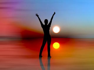 Dancing girl in the rising sun
