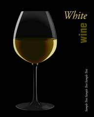 White wine. Vector illustration.