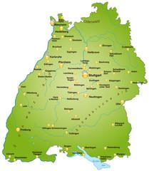 Bundesland Baden-Württemberg als Übersicht