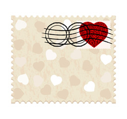 vector illustration of a valentine stamp