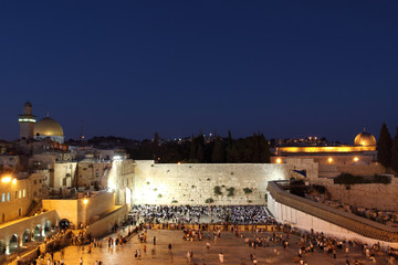The Temple Mount, and the Western Wall at Night, Jerusalem