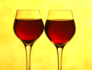 Two wine glass in yellow