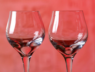 Two wine glass in red