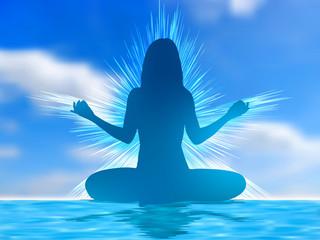 Human silhouette meditating. EPS 8