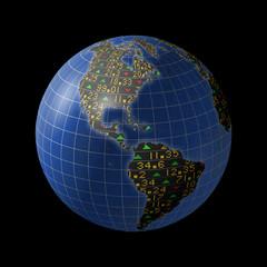 American economies with stock market tickers on globe