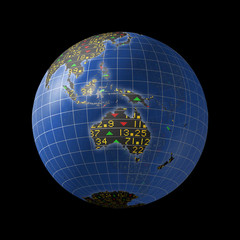 Australian economies with stock market tickers on globe