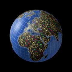 World economies with stock market tickers on globe