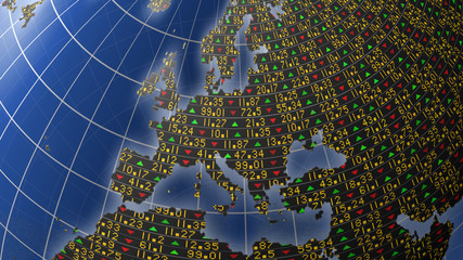 European economies with stock market tickers on globe