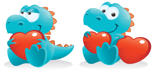 Cute Baby Dinosaur Posing With Hearts