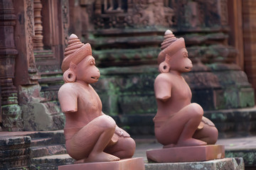 Gods sculptures at Banteay Srei temple, Angkor.