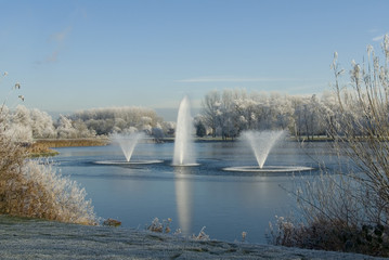 Water fountains in the winter